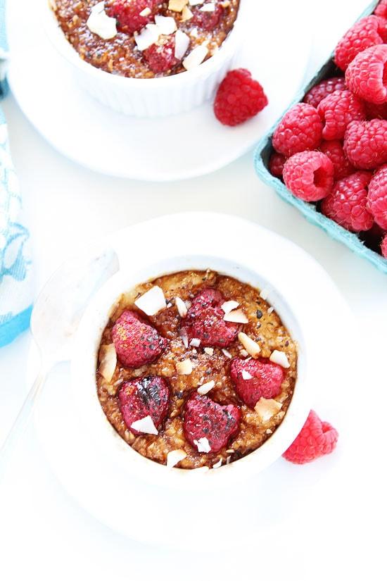 Raspberry Coconut Crème Brûlée Oatmeal Recipe on twopeasandtheirpod.com
