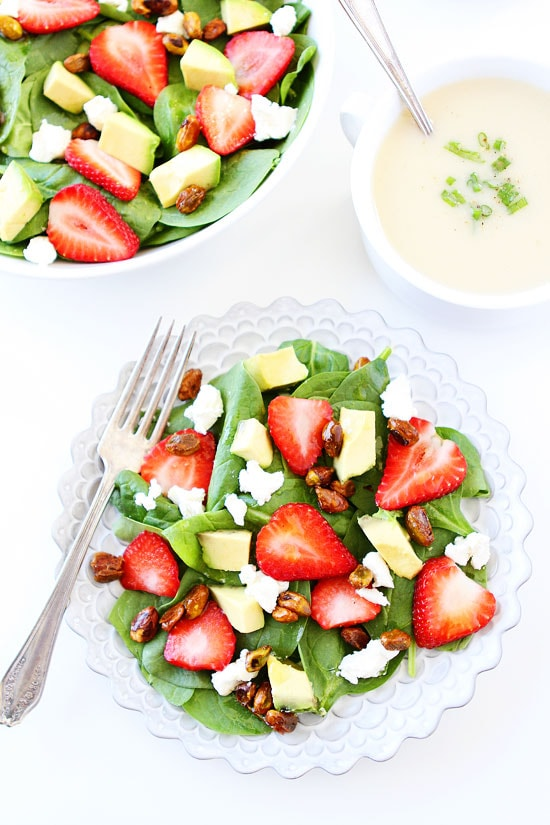 Strawberry Spinach Salad with Avocado, Goat Cheese, and Candied Pistachios Recipe