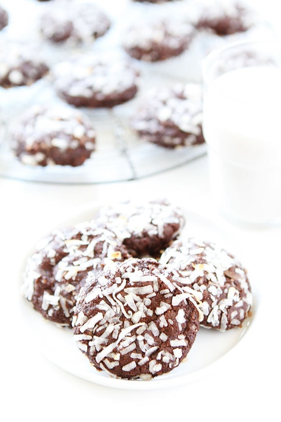 Vegan Chocolate Coconut Cookies ready to eat on plate served with coconut milk