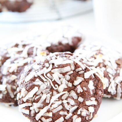 Vegan Chocolate Coconut Cookies with coconut on top served on a plate