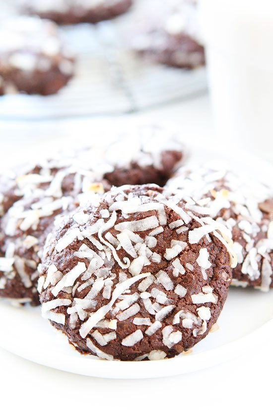 Chocolate Coconut Cookies made without eggs piled on plate