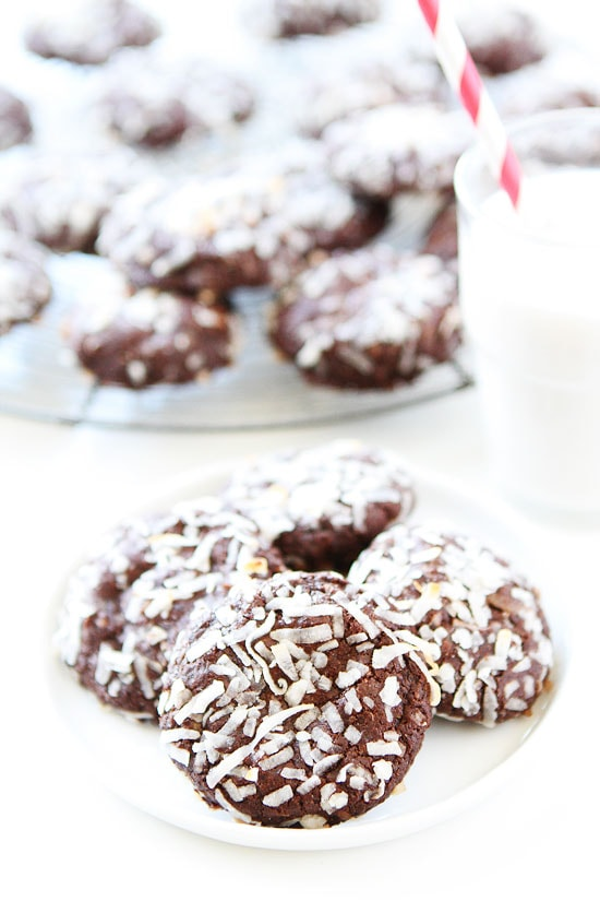 Vegan Chocolate Coconut Cookies on plate with a glass of milk