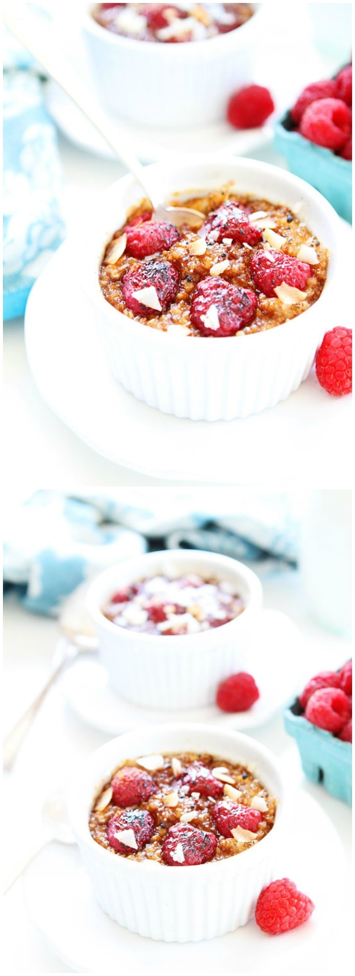 Raspberry Coconut Crème Brûlée Oatmeal Recipe on twopeasandtheirpod.com This simple oatmeal recipe will remind you of your favorite dessert!