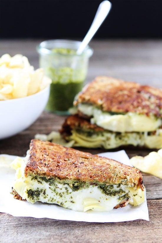 Pesto, Artichoke, and Havarti Grilled Cheese Sandwich