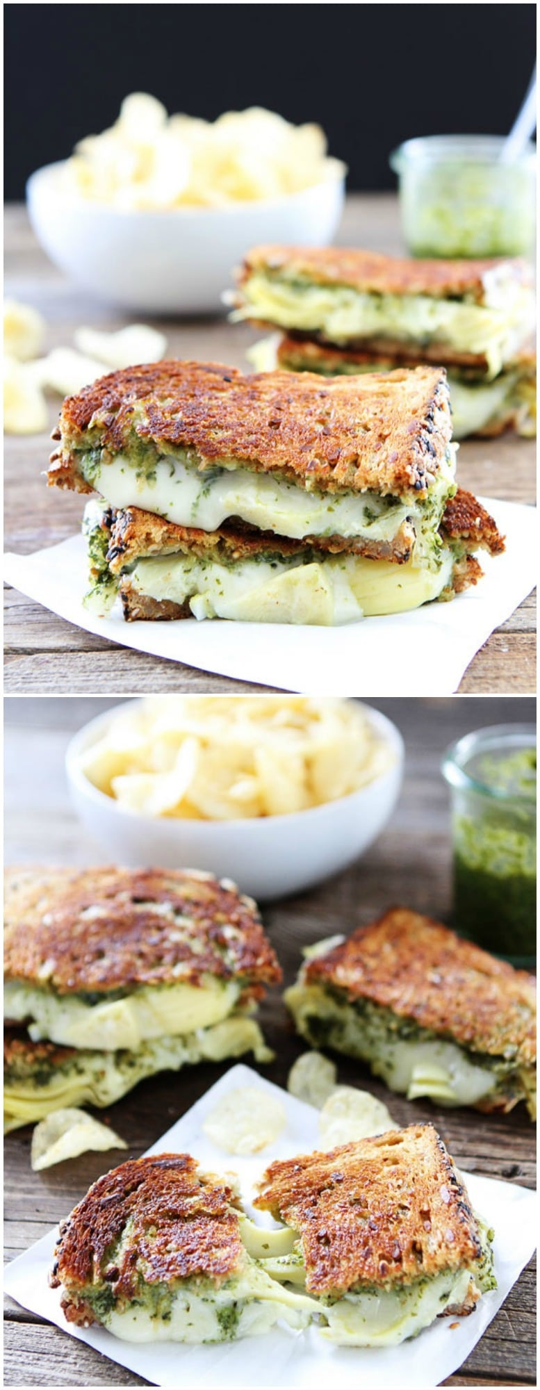 Pesto, Artichoke, and Havarti Grilled Cheese Recipe on twopeasandtheirpod.com This grilled cheese is bursting with flavor! A MUST make!