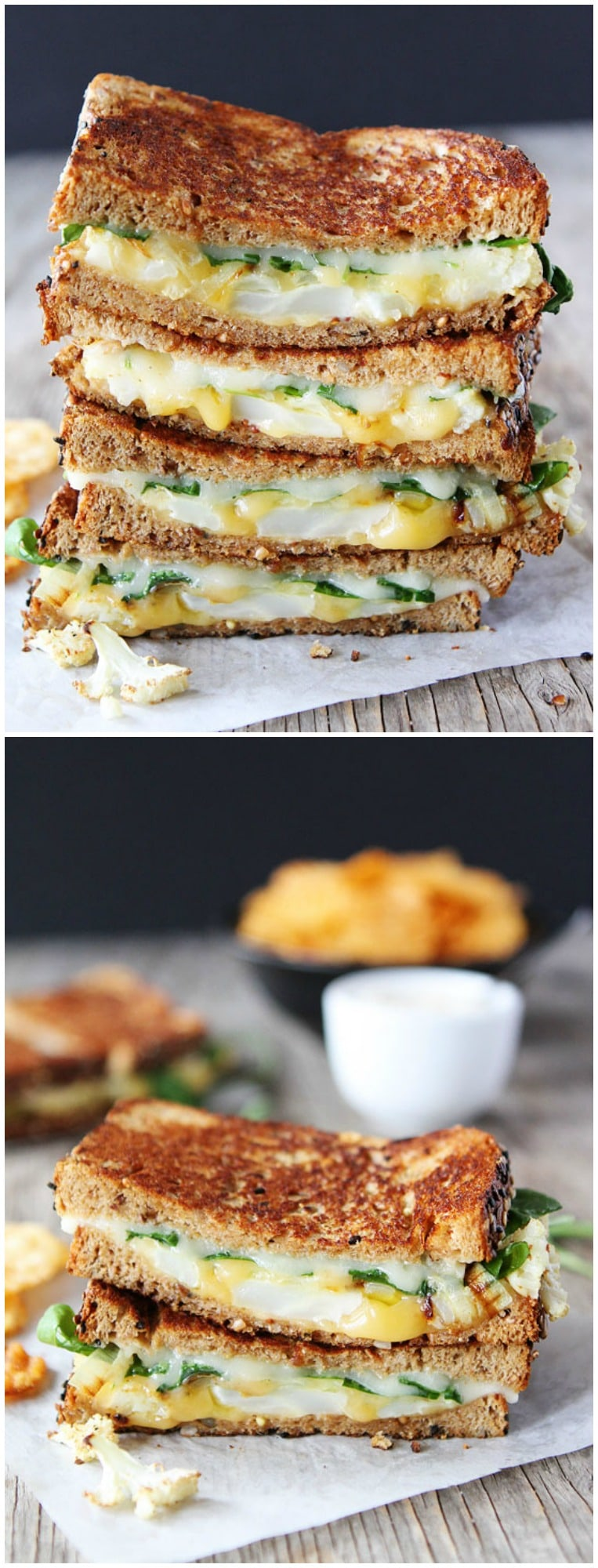 Roasted Cauliflower Grilled Cheese Sandwich on twopeasandtheirpod.com You have to try this grilled cheese! It's amazing!