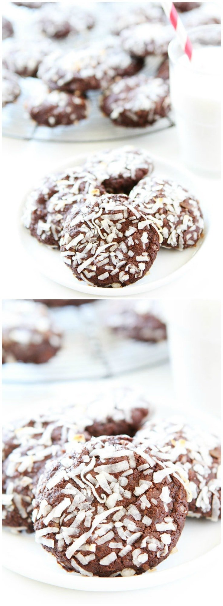 Vegan Chocolate Coconut Cookies on twopeasandtheirpod.com You will never know these rich and fudgy chocolate cookies are vegan! They are SO good!