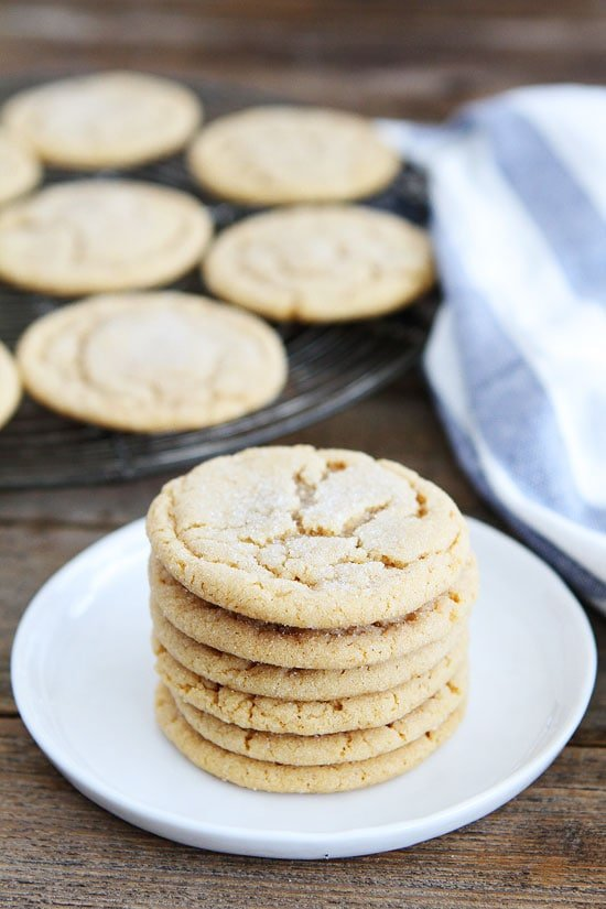 Soft peanut butter cookies piled high on plate