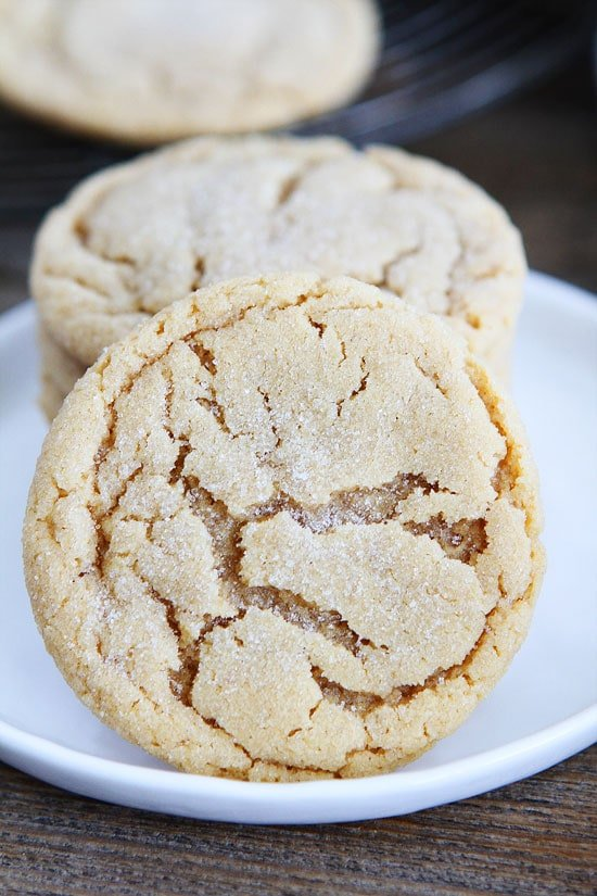 Peanut butter cookies rolled in sugar for a pretty crinkled top