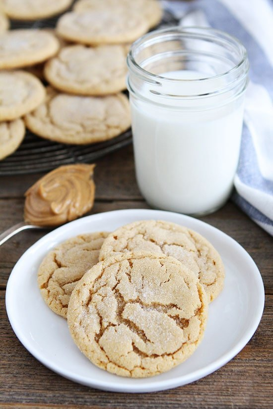 Peanut Butter Cookies on plate served with glass of milk