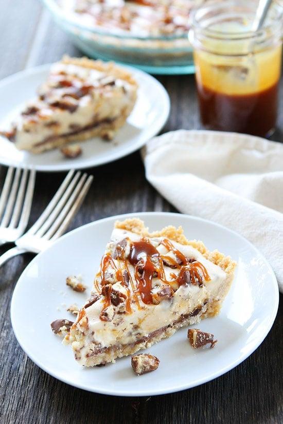 Twix Ice Cream Pie with shortbread crust