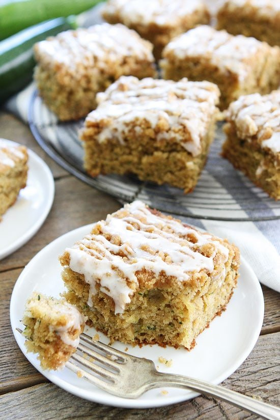 Brown Butter Zucchini Coffee Cake with streusel and glaze