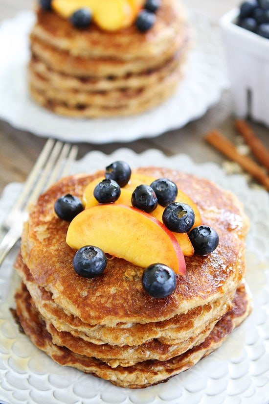Oatmeal Pancakes with Cinnamon topped with blueberries