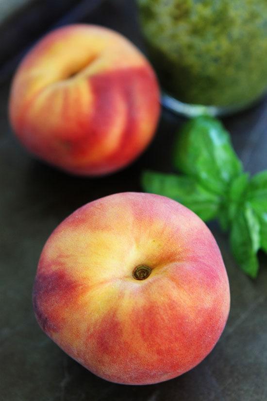 Grilled Peach, Pesto, and Mozzarella Quesadillas Recipe
