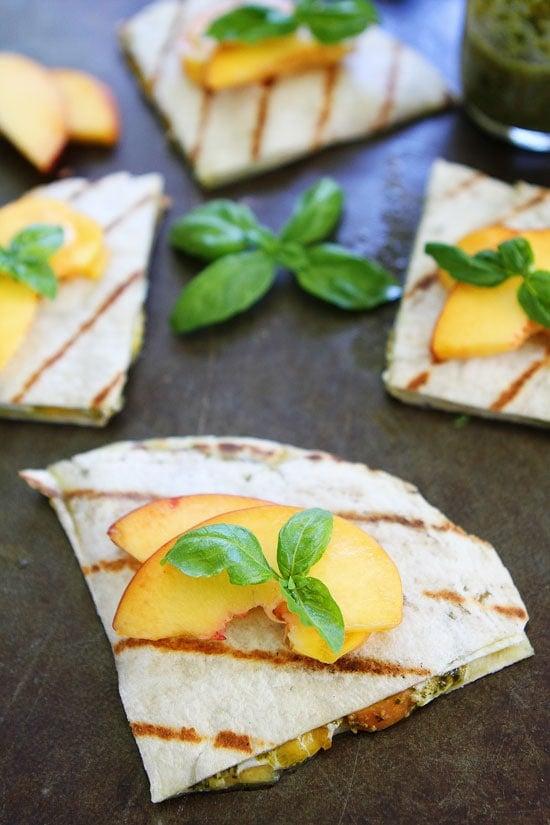 Grilled Peach, Pesto, and Mozzarella Quesadillas