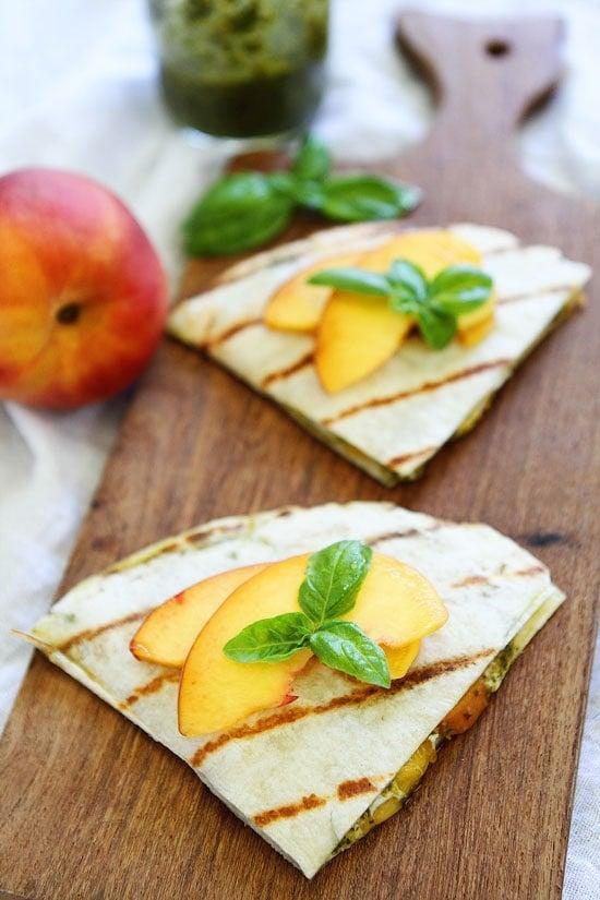 Peach, Pesto, and Mozzarella Quesadillas Recipe