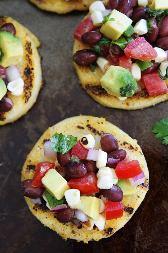 Grilled Polenta Rounds with Black Bean and Avocado Salsa Recipe