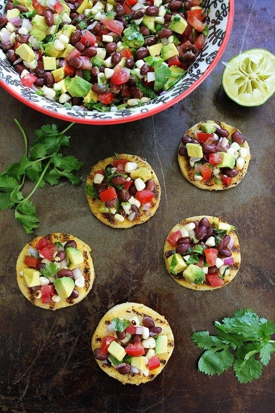 Grilled-Polenta-Rounds-with-Black-Bean-Salsa-4