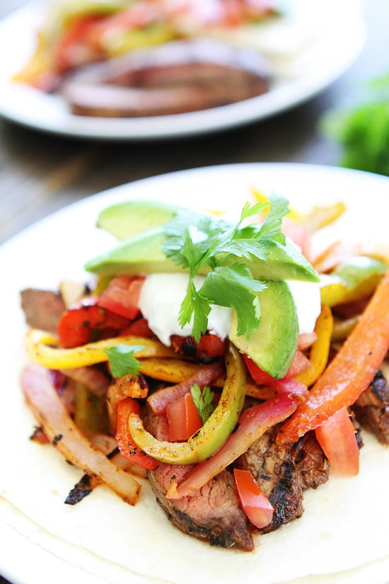 Closeup of Steak Fajitas ready to eat