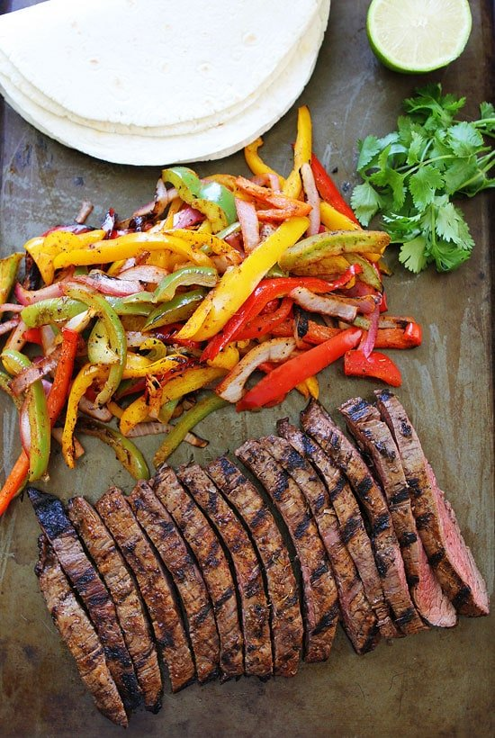 Easy steak fajitas laid out and ready to assemble