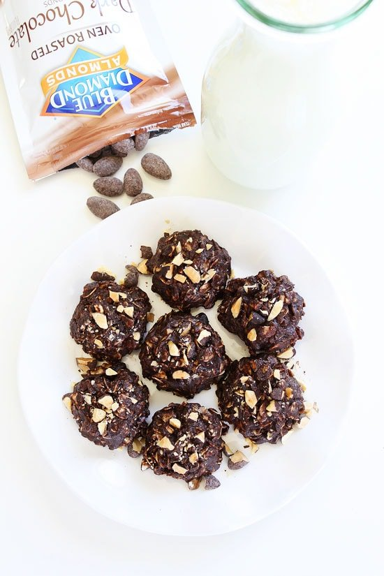 Vegan No-Bake Dark Chocolate Almond Cookie Recipe