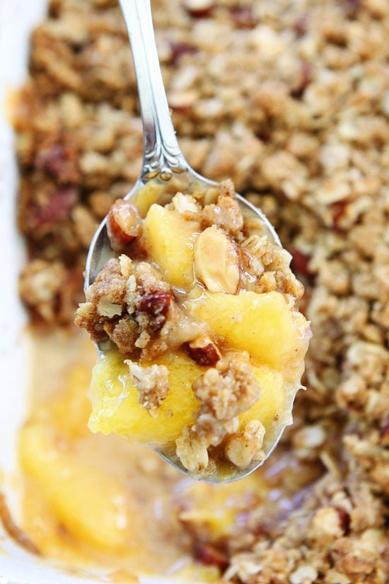 Peach Crisp in a pan