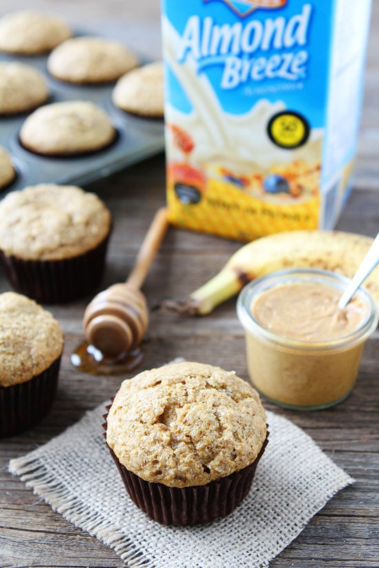 peanut butter banana muffins made with almond milk