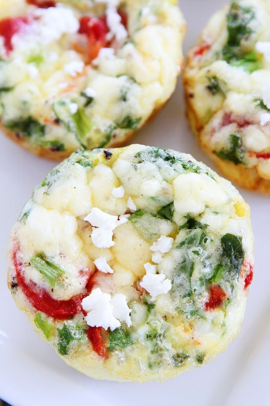 Egg Muffins with Kale, Roasted Red Peppers, and Feta Cheese Recipe on ...