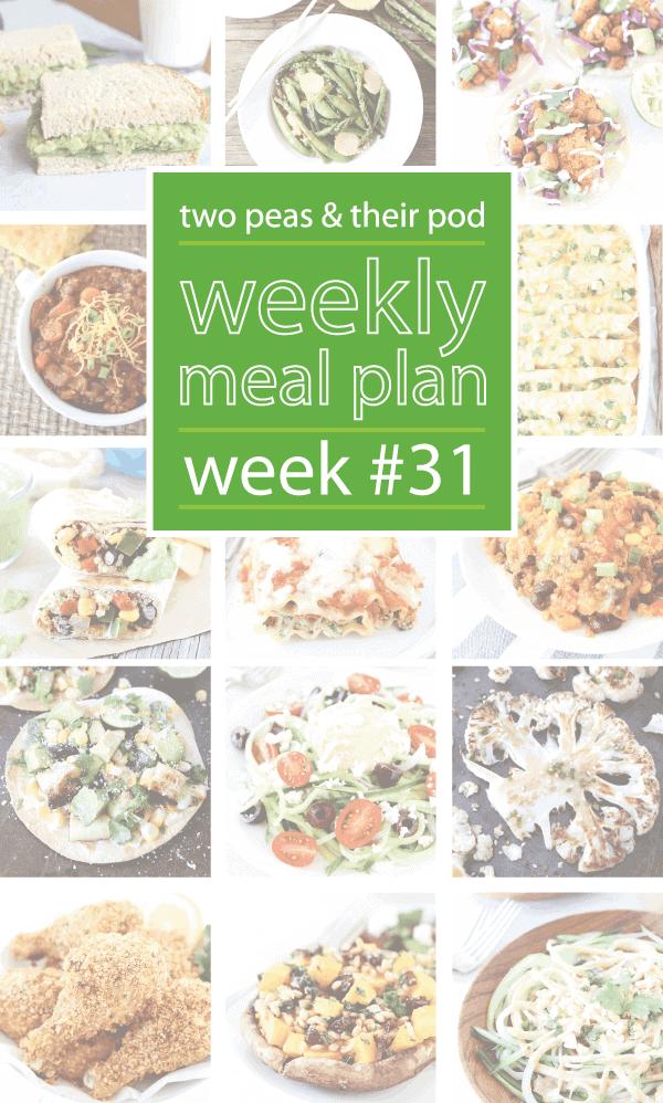 Weekly Meal Plan, Week 31