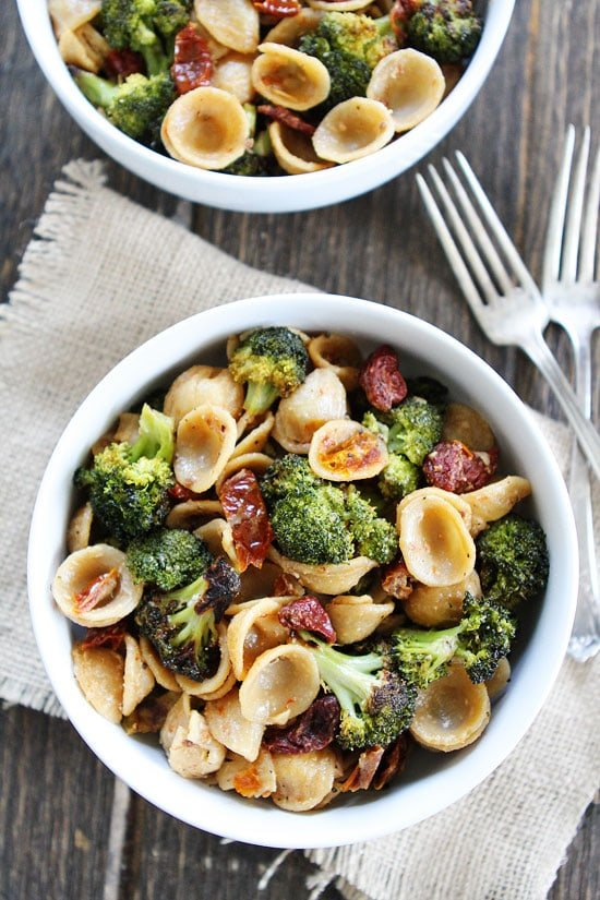 Creamy Goat Cheese Pasta With Roasted Broccoli And Sun Dried Tomatoes