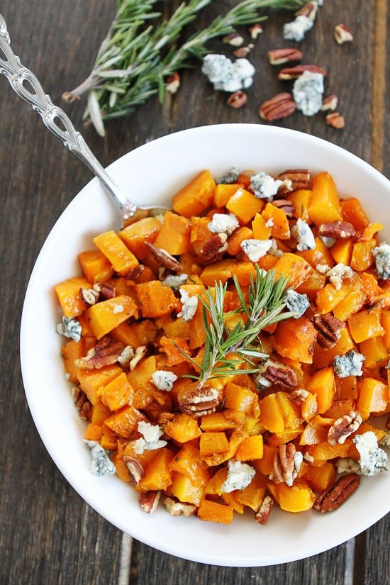 Roasted Butternut Squash with Balsamic, Blue Cheese, and Pecans Recipe