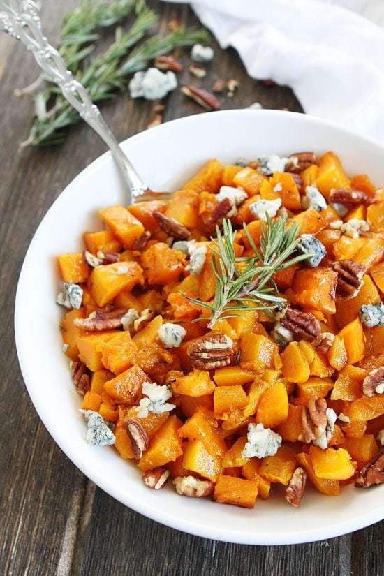 Roasted Butternut Squash with Balsamic, Blue Cheese, and Pecans
