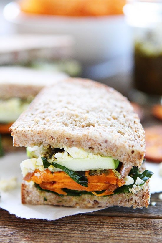 Sweet Potato, Apple, Kale, and Pesto Sandwich Recipe