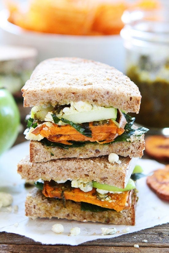 Roasted Sweet Potato Sandwich with Apples, Pesto, Kale, and Blue Cheese Recipe