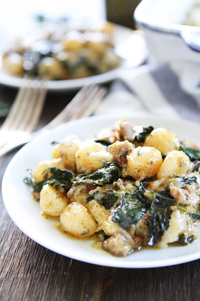 Baked Gnocchi with Sausage, Kale, and Pesto Recipe