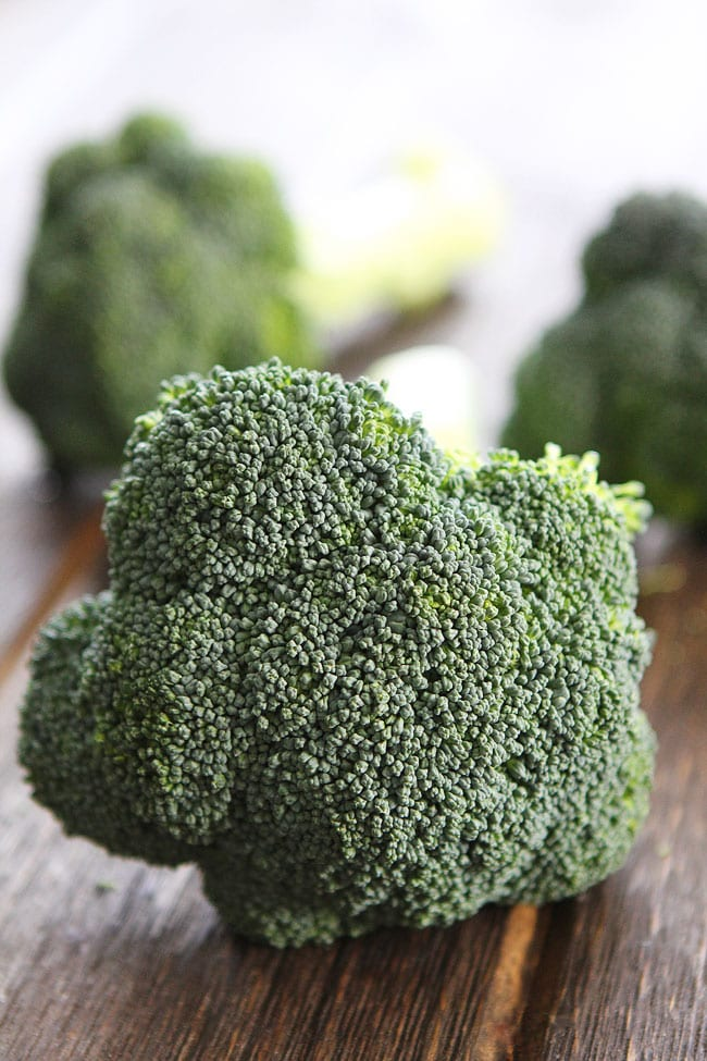 Baked or Roasted Broccoli on cutting board