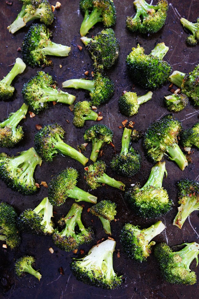 Roasted Broccoli on cookie sheet cooling