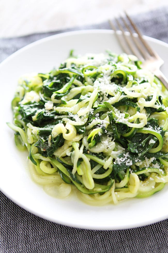 5-Ingredient Spinach Parmesan Zucchini Noodles Recipe