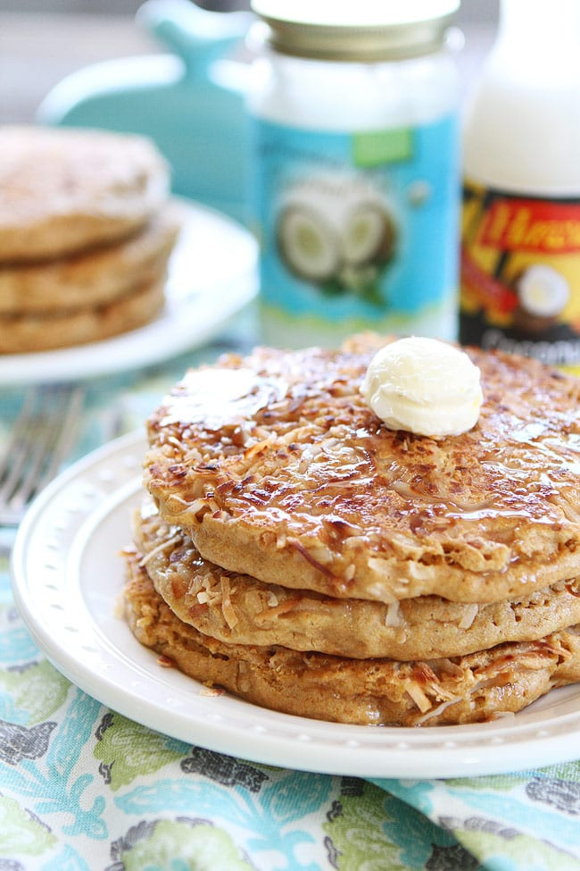 Coconut Pancakes served with coconut syrup and butter