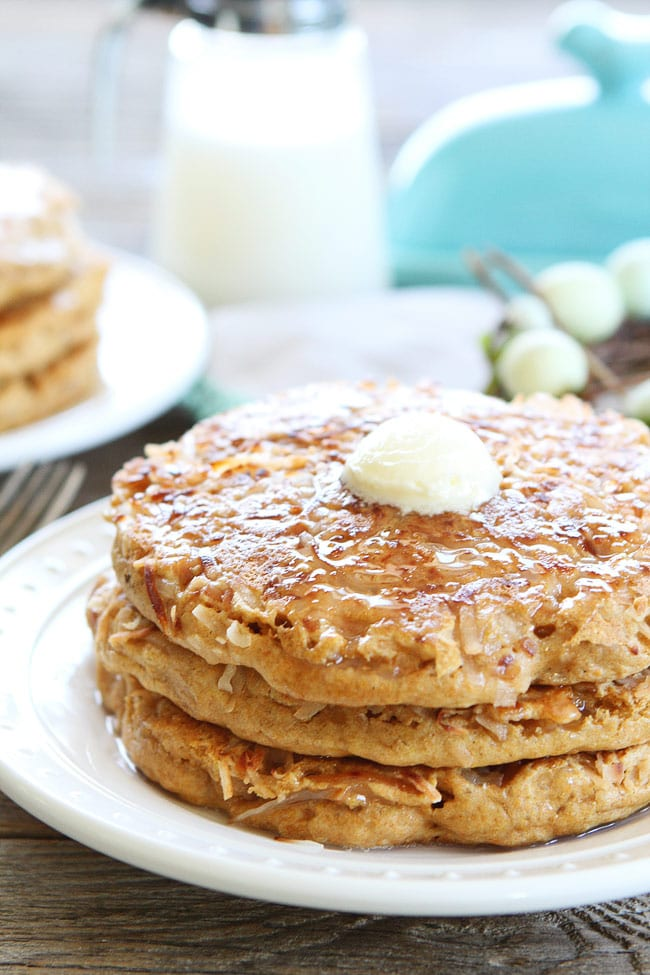 Melted butter on stack of Coconut milk Pancakes