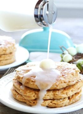 coconut pancakes drizzled with coconut pancake syrup