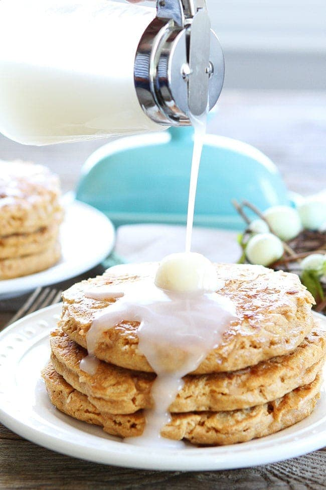 Toasted Coconut Pancakes with butter and coconut syrup
