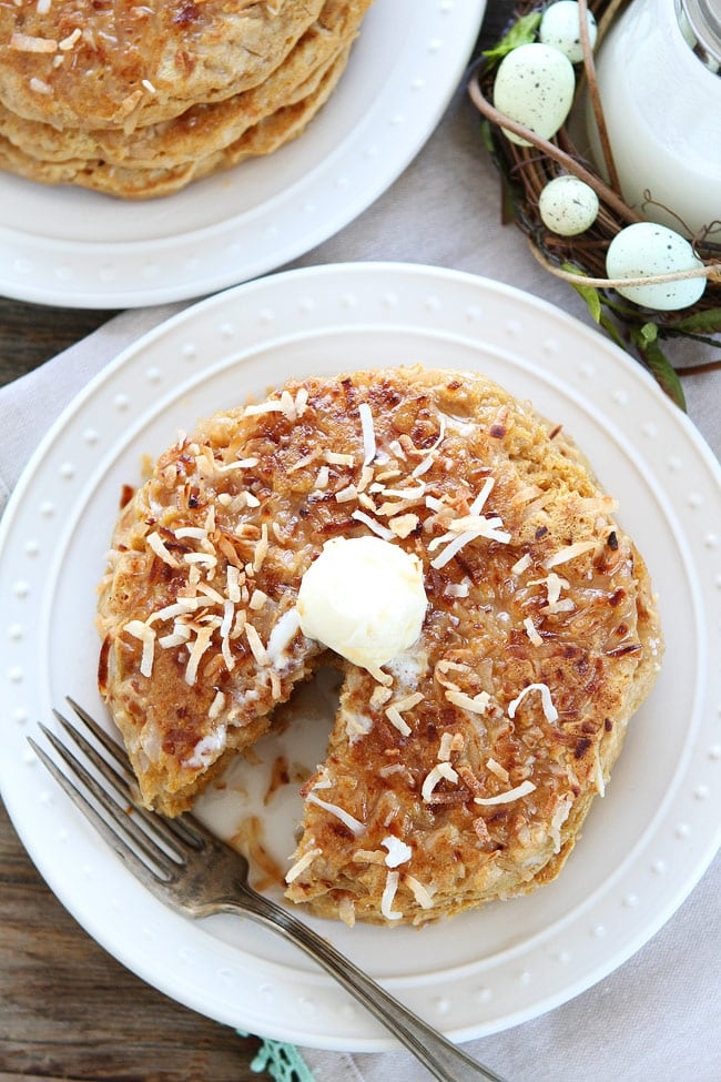 Coconut milk Pancakes served on white plate