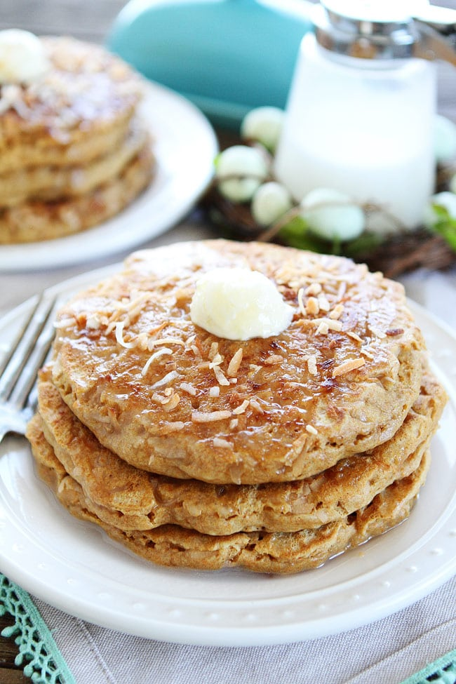 Coconut Milk Pancakes topped with coconut pancake syrup and butter
