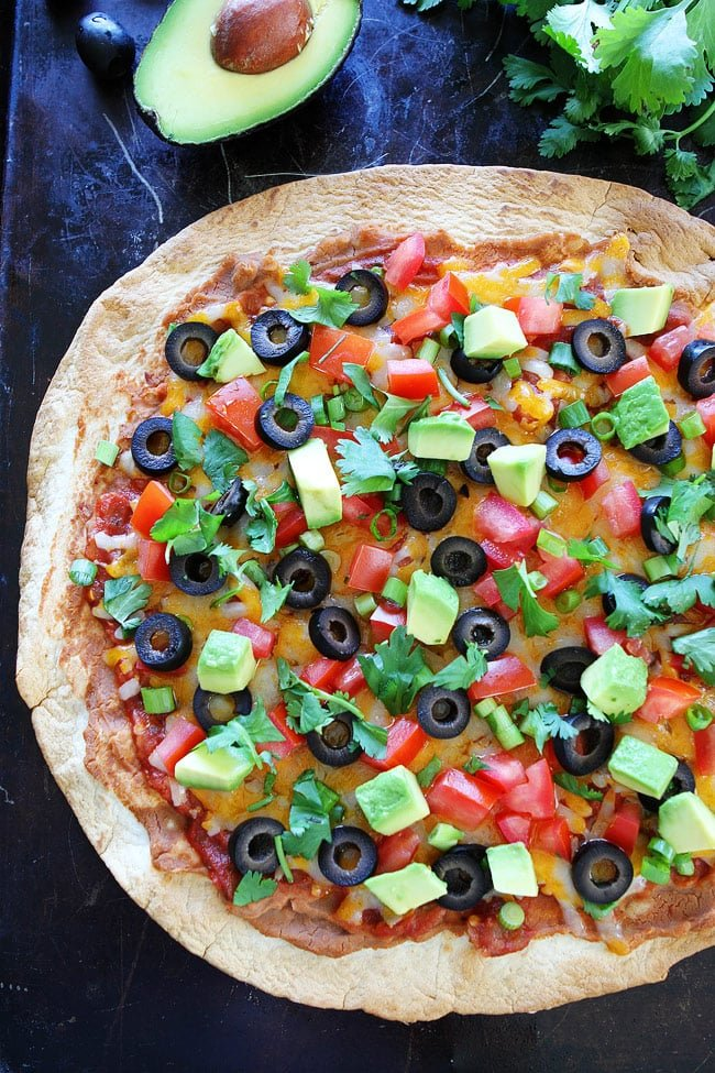 Mexican Pizza with a Tortilla Crust and Topped with Fresh Vegetables
