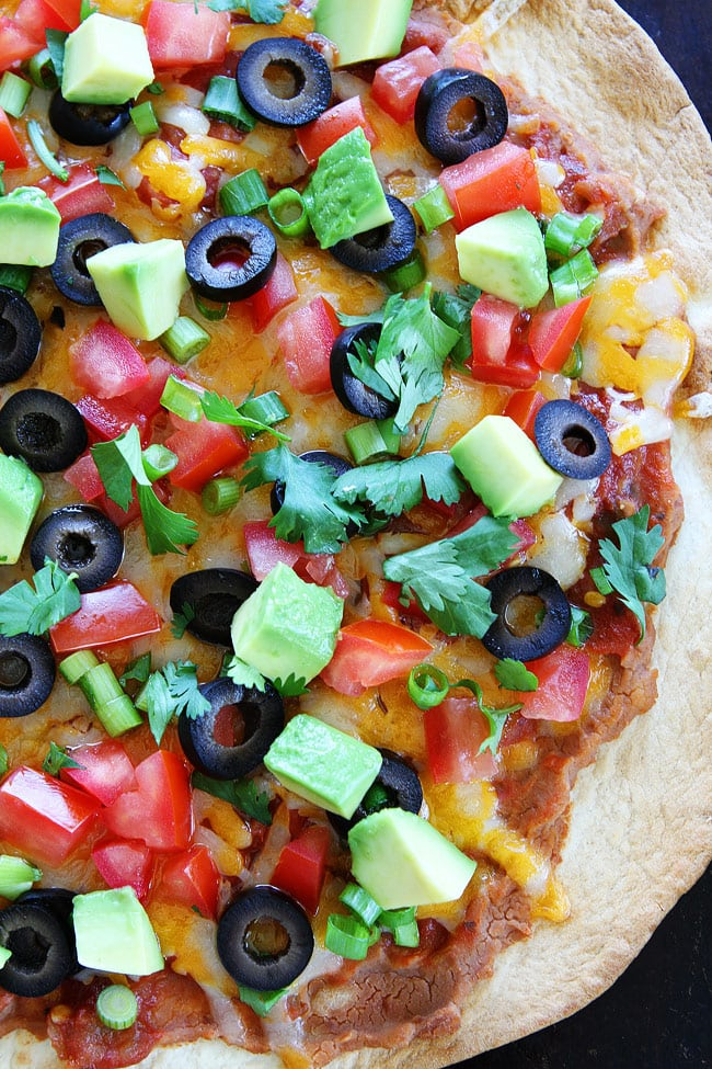 Close up of Mexican Pizza baked on Flour Tortilla