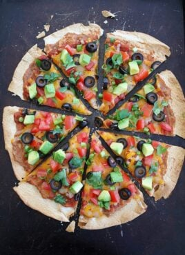 Tortilla Pizza with Enchilada Sauce and Mexican Inspired Toppings