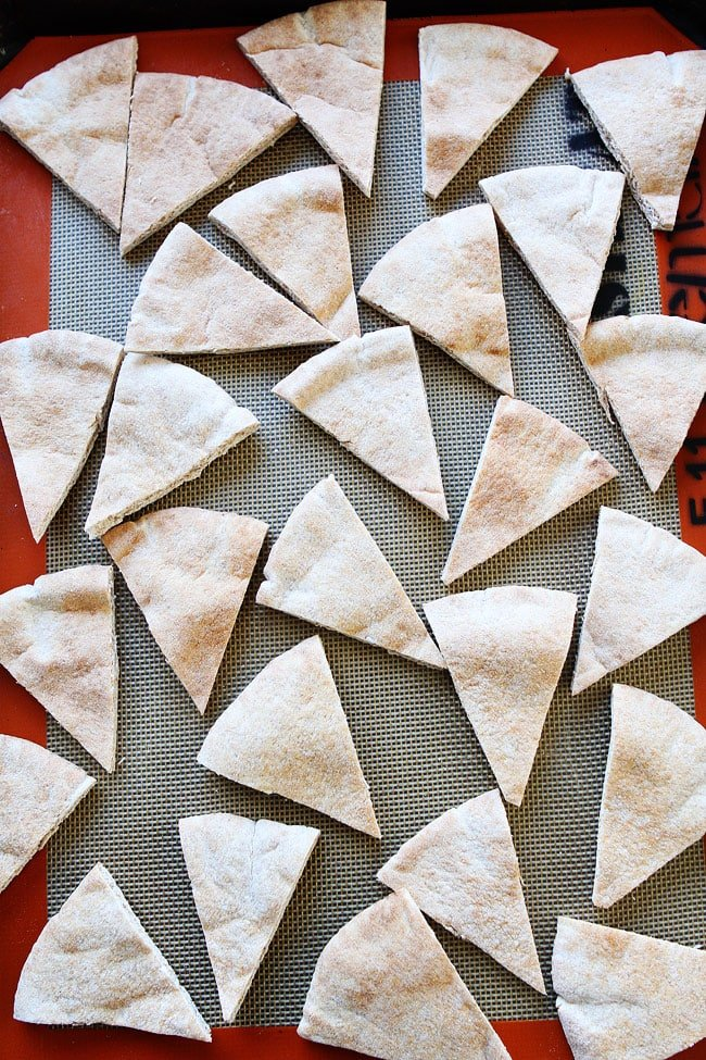 Homemade Pita Chips ready to bake on silicone mat