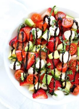 Caprese Salad with avocado and strawberries