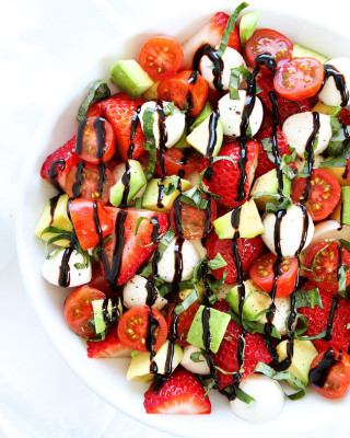 Caprese Salad with avocado and strawberries